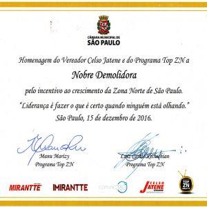 Nobre Demolidora recebe homenagem do vereador Celso Jatene e do Programa Top ZN como empresa referência no incentivo ao cresciento da Zona Norte de São Paulo